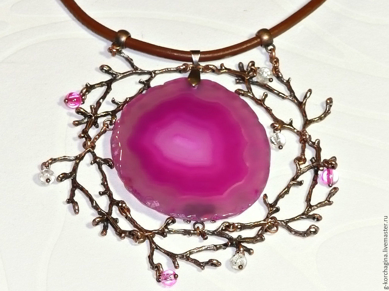 'The cradle of the setting sun' necklace on leather cord slice agate fuchsia, Necklace, Voronezh,  Фото №1