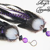 Earrings handmade. Livemaster - original item Black and purple feather earrings.. Handmade.