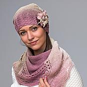 Аксессуары handmade. Livemaster - original item Set cap and a shawl