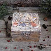 """Для дома и интерьера ручной работы. Ярмарка Мастеров - ручная работа """"Зима в Лисьем лесу""""  Короб деревянный ОЛЬХА. Handmade."""