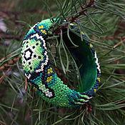 Украшения ручной работы. Ярмарка Мастеров - ручная работа Зелёный браслет в стиле уичоль. Handmade.