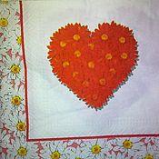 Материалы для творчества ручной работы. Ярмарка Мастеров - ручная работа №25 Салфетка для декупажа, сердце, цветы, ромашки. Handmade.