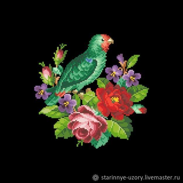 Попугай с цветами, Схемы для вышивки, Москва,  Фото №1