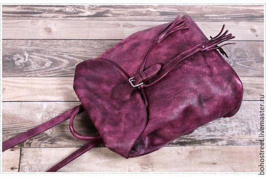 Рюкзаки ручной работы. Ярмарка Мастеров - ручная работа. Купить Мягкий рюкзачок из натуральной кожи в ежевичном оттенке. Handmade. Брусничный