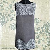 Одежда ручной работы. Ярмарка Мастеров - ручная работа Платье футляр из льна ДЫМКА Дизайнерские платья Черно белое платье. Handmade.