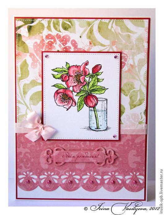 Открытки на день рождения ручной работы. Ярмарка Мастеров - ручная работа. Купить открытка с веточкой розы к дню рождения. Handmade.