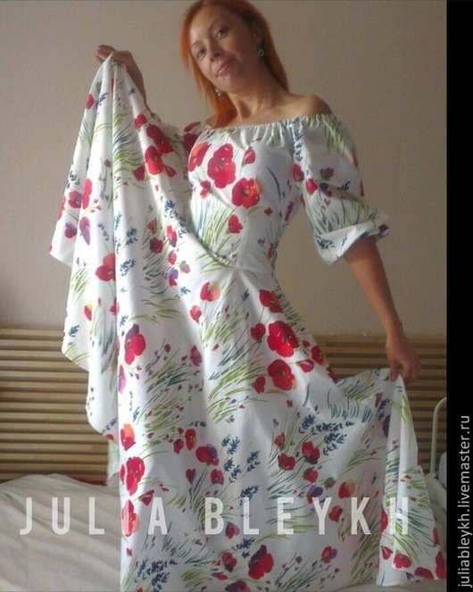 """Платья ручной работы. Ярмарка Мастеров - ручная работа. Купить Платье длинное с юбкой-солнцем """"МАКИ"""". Handmade. Белый"""