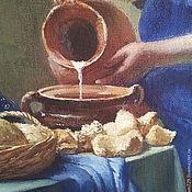 Картины и панно ручной работы. Ярмарка Мастеров - ручная работа Копия картины Вермеера  Молочница темпера. Handmade.