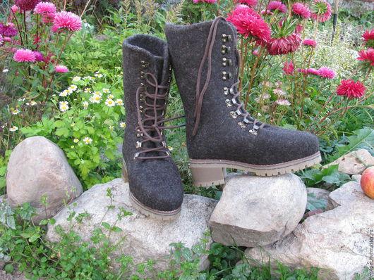 Обувь ручной работы. Ярмарка Мастеров - ручная работа. Купить Сапоги валяные коричневые. Handmade. Обувь ручной работы, коричневый