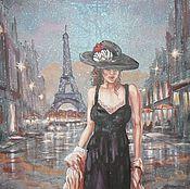 Картины и панно ручной работы. Ярмарка Мастеров - ручная работа Парижанка. Картина на органзе.. Handmade.