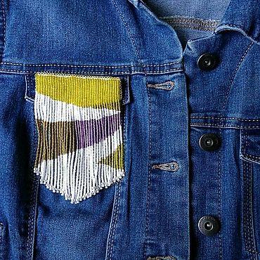 Украшения ручной работы. Ярмарка Мастеров - ручная работа Брошь из бисера, брошь на карман, накладка на карман. Handmade.