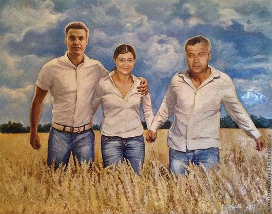 """Люди, ручной работы. Ярмарка Мастеров - ручная работа. Купить """"Так выглядит счастье"""".. Handmade. Голубой, картина, картина маслом"""