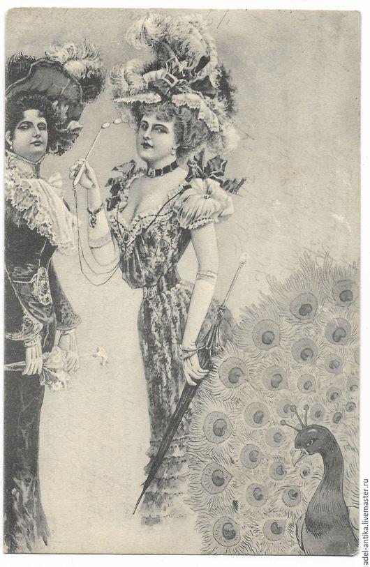 Винтажные сувениры. Ярмарка Мастеров - ручная работа. Купить Старинная немецкая откртыка. Handmade. Чёрно-белый, старинная открытка
