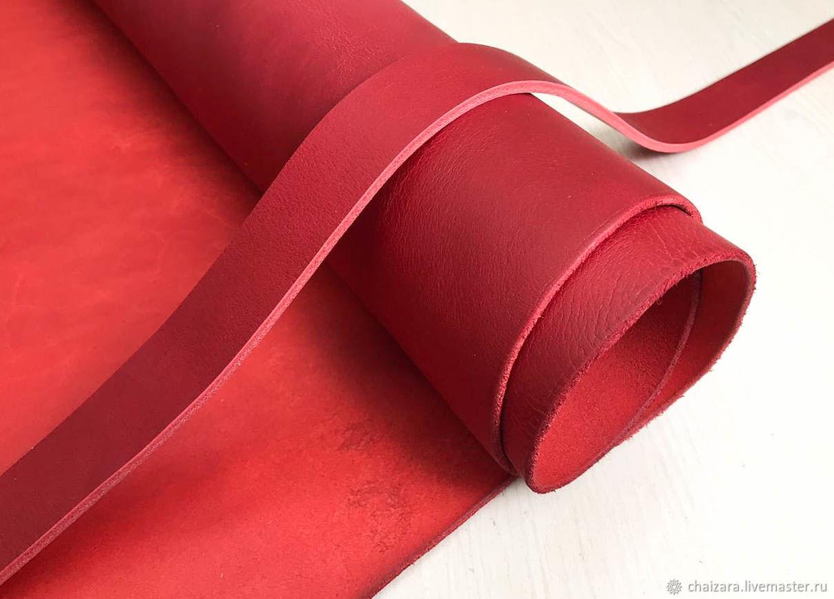 Ременная кожа 3.8-4.0 мм Ambassador Red, Кожа, Оренбург,  Фото №1