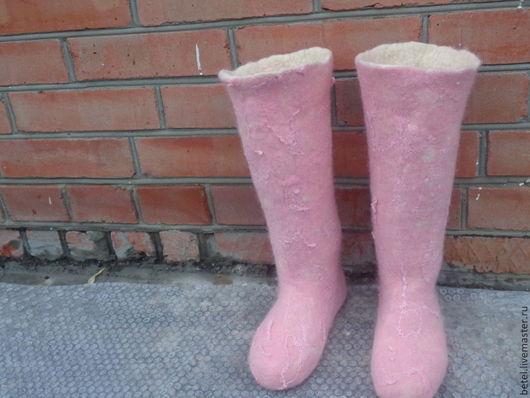 """Обувь ручной работы. Ярмарка Мастеров - ручная работа. Купить Валенки  сапожки для дома """" Розовый рассвет"""". Handmade. Розовый"""