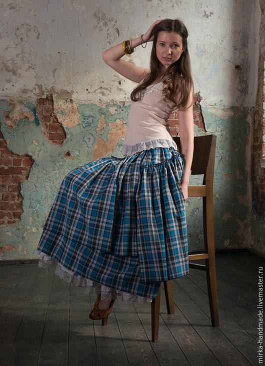 Юбки ручной работы. Ярмарка Мастеров - ручная работа. Купить Голубая клетчатая юбка в бохо-стиле. Handmade. Тёмно-бирюзовый