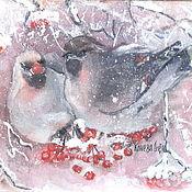 Картины и панно ручной работы. Ярмарка Мастеров - ручная работа Свиристели на калине.  Авторский принт на холсте жикле. Handmade.