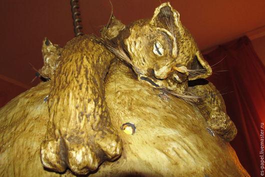 Освещение ручной работы. Ярмарка Мастеров - ручная работа. Купить Кот на абажуре. Handmade. Светильник, абажур ручной работы