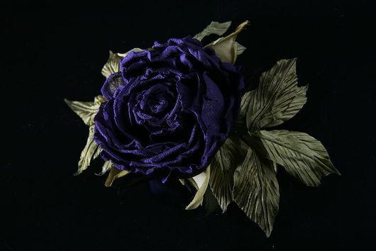 Заколки ручной работы. Ярмарка Мастеров - ручная работа. Купить Роза брошь-заколка. Handmade. Роза из ткани, роза синяя