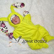 """Работы для детей, ручной работы. Ярмарка Мастеров - ручная работа Комбинезон для новорожденного """"Зайка с розами"""" ярко-желтый. Handmade."""