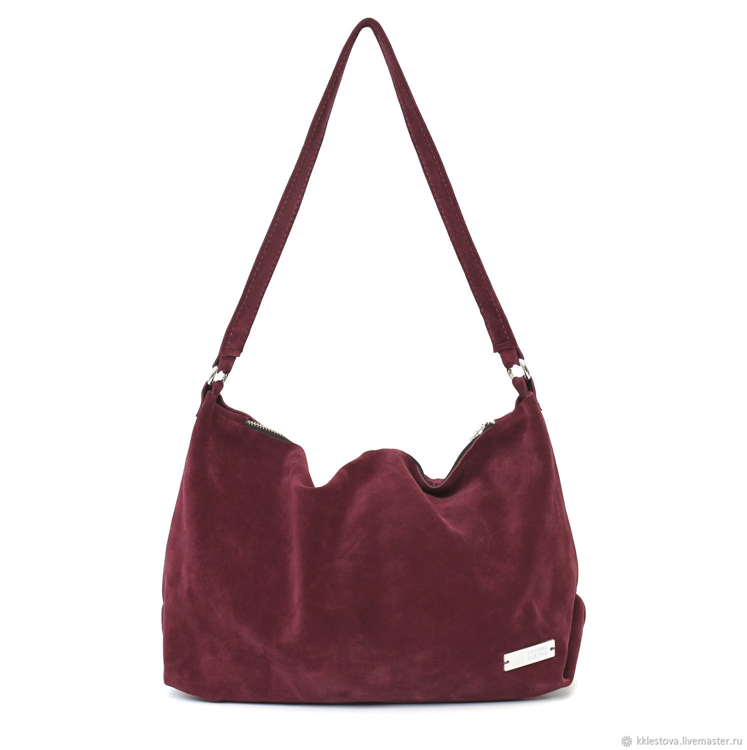 Soft Burgundy bag with shoulder strap made of suede, Sacks, Moscow,  Фото №1