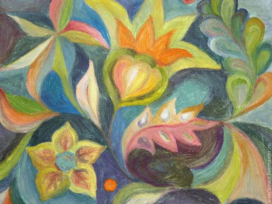Картина Букет дивных цветов на изумрудном фоне. Авторская живопись Ксении Гольд