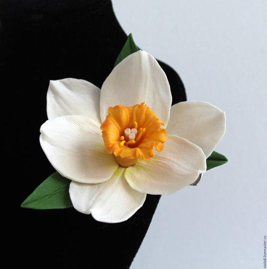 Заколка цветок,нарцисс,зажим с цветком,заколка-зажим,украшение в волосы,украшение ручной работы,летняя заколка,летнее украшение,белый нарцисс. Цветы и украшения Зарифы Пироговой.