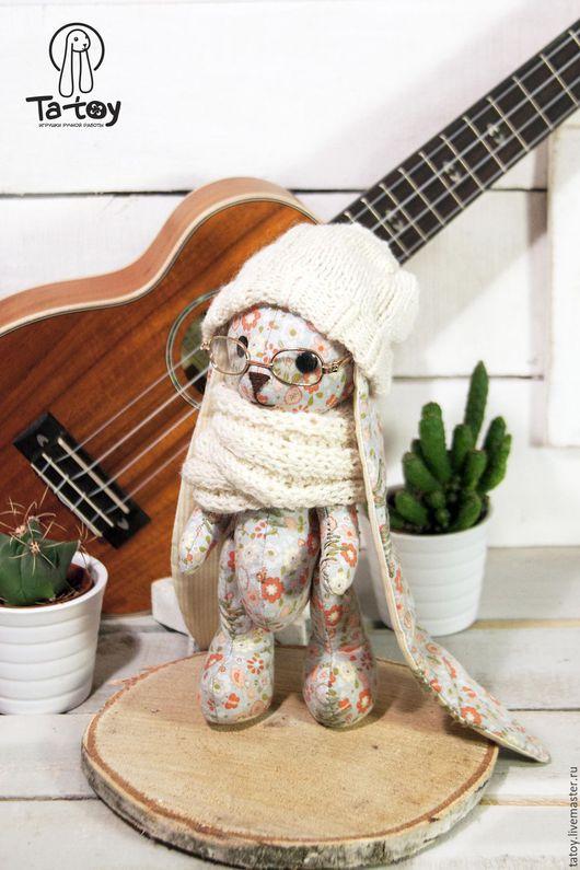 Классический заяц из ткани в цветочек Дизайнерские игрушки Ta-Toy ручной  работы.