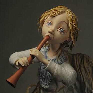"""Куклы и игрушки ручной работы. Ярмарка Мастеров - ручная работа """"Ангел-пастушок с дудочкой"""". Handmade."""