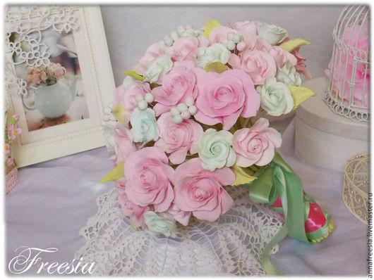 """Букеты ручной работы. Ярмарка Мастеров - ручная работа. Купить букет """"Розы и мята"""". Handmade. Мятный, нежно-розовый, подарок"""
