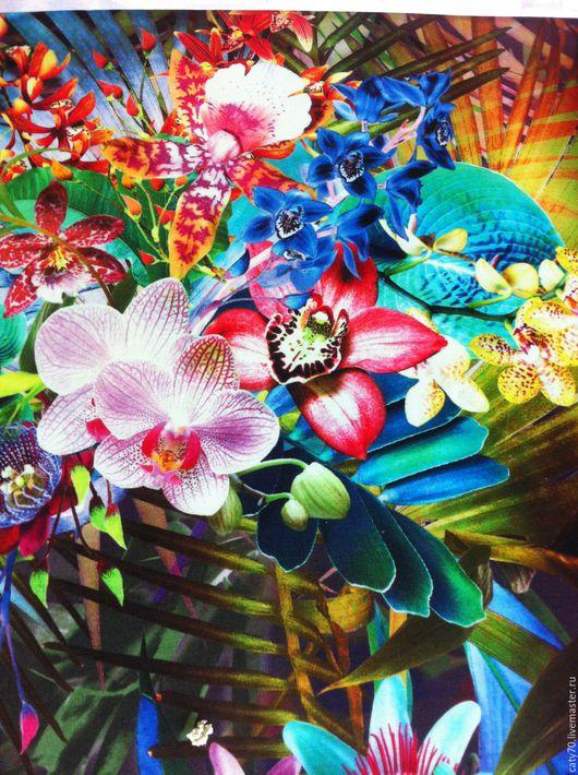 """Шитье ручной работы. Ярмарка Мастеров - ручная работа. Купить Трикотажное полотно """"Орхидеи"""", арт. 00226. Handmade. Трикотажное полотно"""
