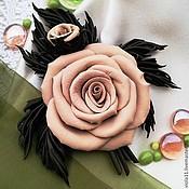 """Украшения ручной работы. Ярмарка Мастеров - ручная работа """"Сладкий шёпот"""" Брошь цветок роза натуральная кожа. Handmade."""