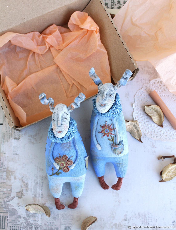 Fairy-Tale Dolls handmade. Livemaster - handmade. Buy Two Rabbits. Textile toys.Rabbit, handmade dolls, grey-blue