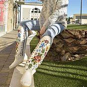 Обувь ручной работы handmade. Livemaster - original item LARRY white / embroidered sheepskin boots / custom work available. Handmade.
