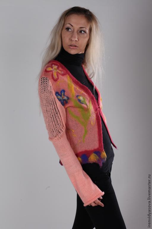 """Пиджаки, жакеты ручной работы. Ярмарка Мастеров - ручная работа. Купить Жакет """" Цветочный ералаш """". Handmade. Оранжевый"""