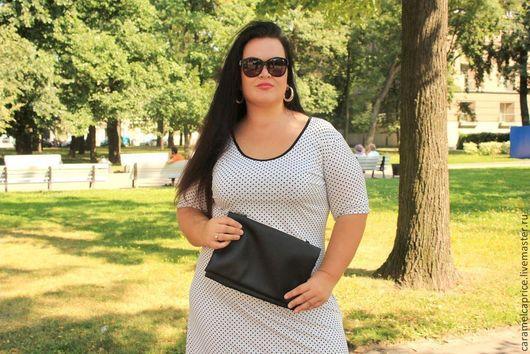 Большие размеры ручной работы. Ярмарка Мастеров - ручная работа. Купить Белое платье в мелкий горошек для красотки с крупными формами. Handmade.