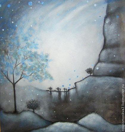Пейзаж ручной работы. Ярмарка Мастеров - ручная работа Картина Долина  у  кратера  акрил  пейзаж  дерево синий. Handmade.
