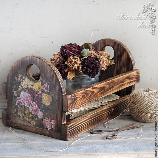 Корзины, коробы ручной работы. Ярмарка Мастеров - ручная работа. Купить Интерьерный ящик из массива сосны Винтажные розы. Handmade.