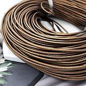 Материалы для творчества handmade. Livemaster - original item 1 m Cord leather 2 mm Brown (746-COR). Handmade.