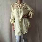 Одежда ручной работы. Ярмарка Мастеров - ручная работа Льняная блуза-туника с кружевом, большой размер. Handmade.