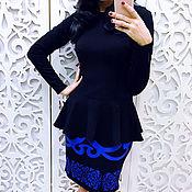 Одежда ручной работы. Ярмарка Мастеров - ручная работа Платье с баской комбинированное. Handmade.