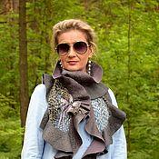 Аксессуары handmade. Livemaster - original item Grey scarf felted with flounce hem, this airy silk scarf. Handmade.