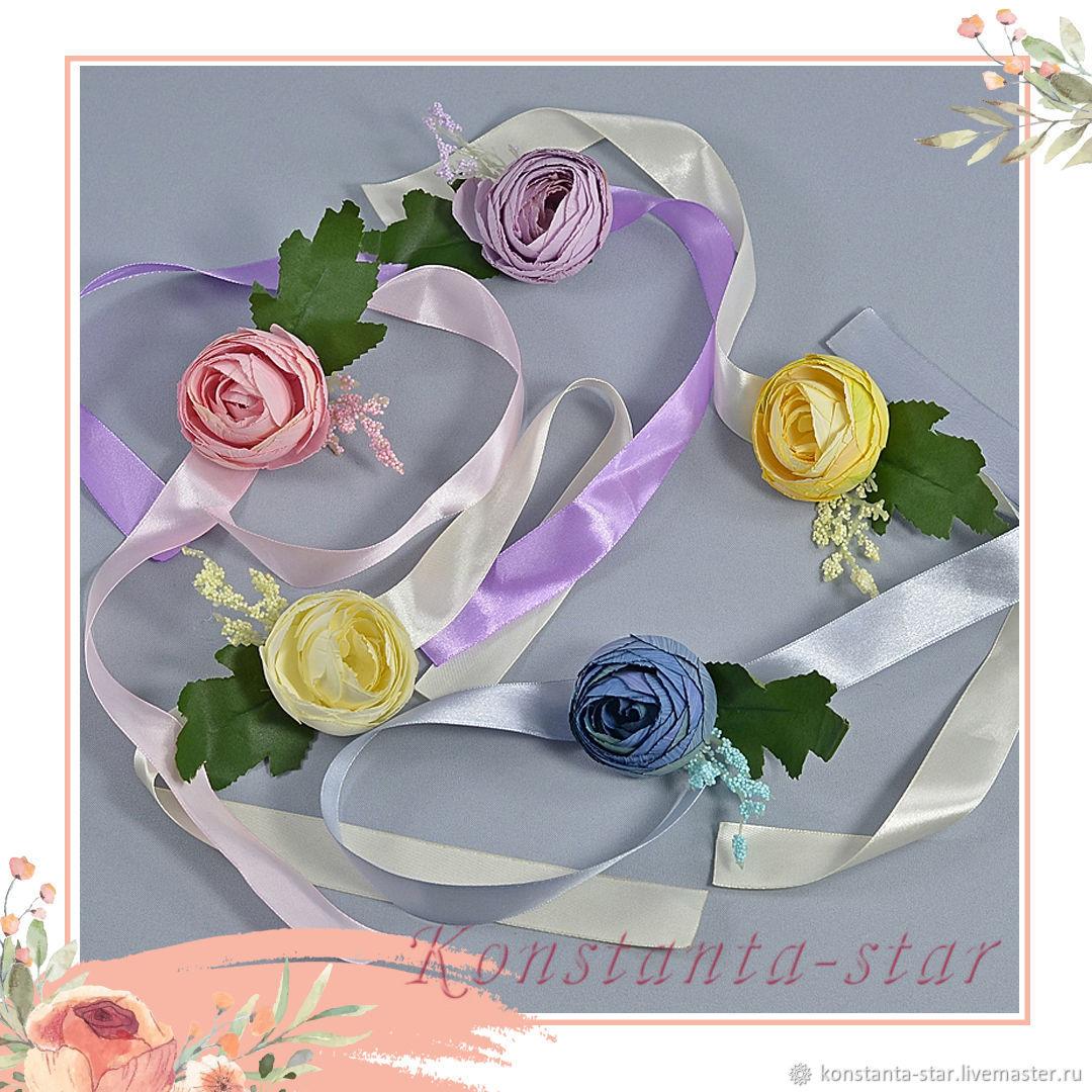 Браслеты с ранункулюсами  подружкам невесты, Браслеты, Москва,  Фото №1
