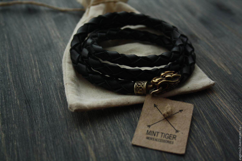 Leather bracelet ,bracelet with the wolves, Bead bracelet, Volgograd,  Фото №1