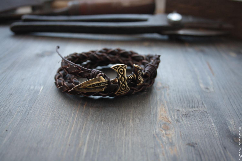 Плетеный браслет из натуральной кожи с бронзовым мечем, Браслет плетеный, Волгоград,  Фото №1