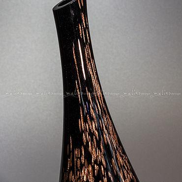 Для дома и интерьера ручной работы. Ярмарка Мастеров - ручная работа Декоративная ваза ЧЕРНОЕ КРЫЛО-3. MD-VS-OS-black-feather-3. Handmade.