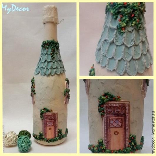 Декор бутылки `Домик`