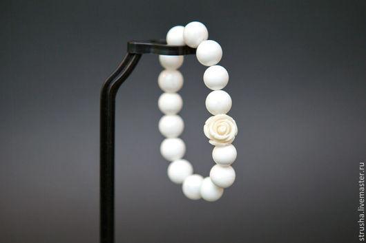 Браслеты ручной работы. Ярмарка Мастеров - ручная работа. Купить Белая роза. Handmade. Белый, браслет, Браслет ручной работы