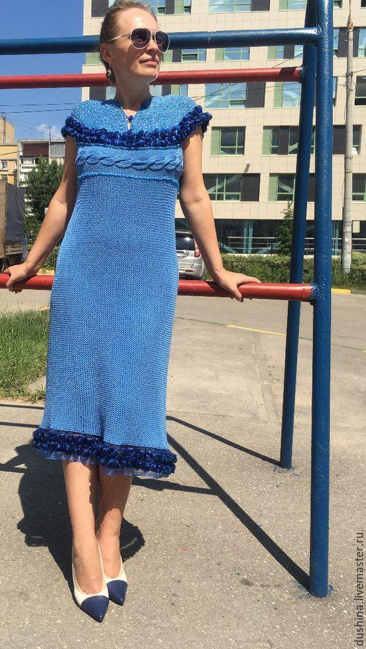"""Платья ручной работы. Ярмарка Мастеров - ручная работа. Купить Платье вязанное """"Голубое"""""""". Handmade. Синий, платье вязанное"""