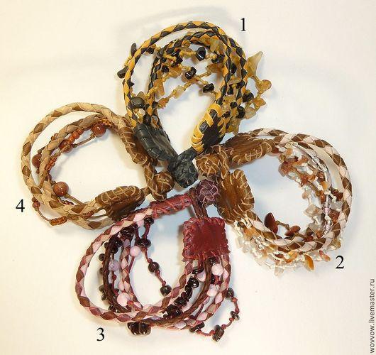 Браслеты ручной работы. Ярмарка Мастеров - ручная работа. Купить Кожаный браслет - ручное плетение. Handmade. Разноцветный, кожаные украшения